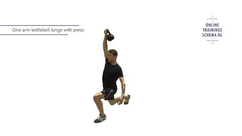 lunge kettlebell press arm oefening