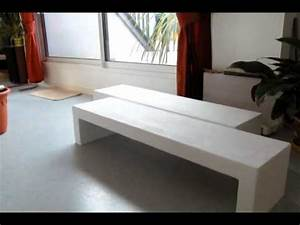 table basse en beton youtube With table beton cire exterieur