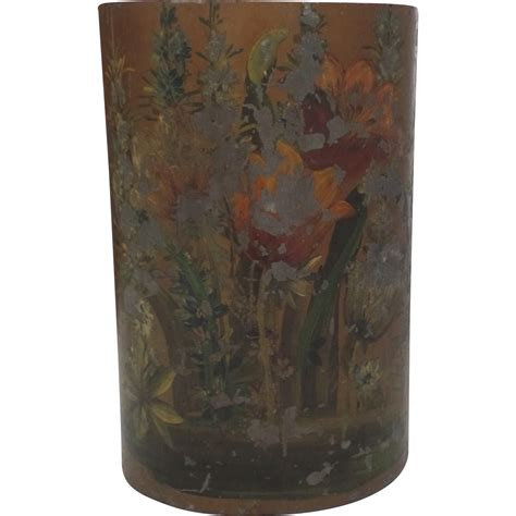 shabby chic garbage can vintage painted trash waste basket can chipping paint shabby chic from blacktulip on ruby lane