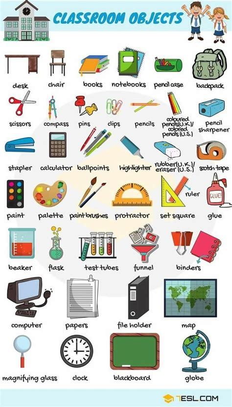 classroom objects english vocabulary english learn site