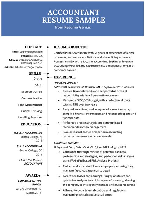 Experienced Accountant Resume by Experienced Person Resume Exles Resume Exles Free