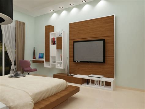 Bedroom With Woodwork For Tv Unit Apartmentvilla