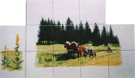 faience cuisine paysage sur faïence décor moderne fresque sur carrelage