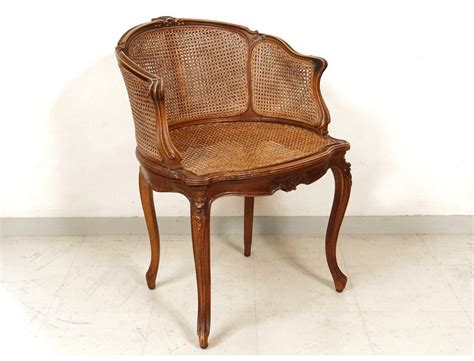 bureau noyer office chair caned louis xv carved walnut shells flowers