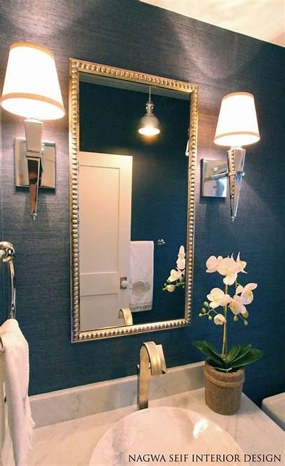 Bathroom Powder Half Navy Rooms Living Statement