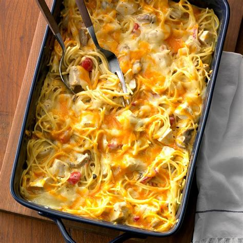 spaghetti chicken casserole hearty recipe recipes joanna gaines favorite baked taste tasteofhome foods