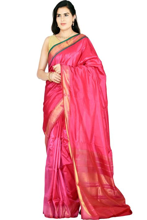 buy pink woven silk saree with blouses saree with blouse