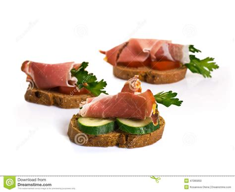 canape chesterfild canape with jamon stock photo image 47085850