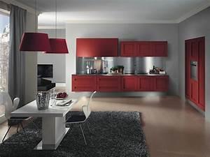 50 idees originales pour la deco cuisine rouge a vous With salle À manger contemporaine avec cuisine couleur rouge bordeaux