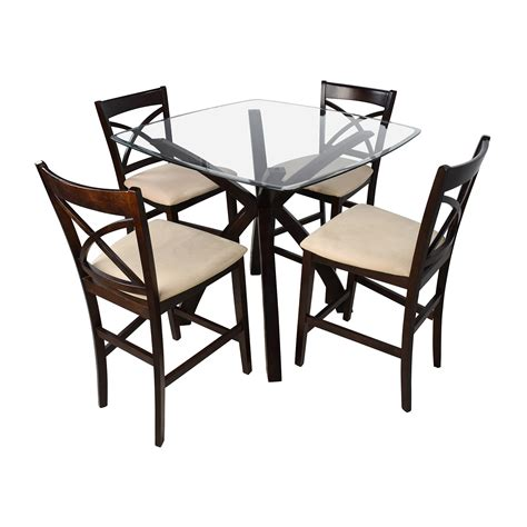 53 counter height glass and wood table with four