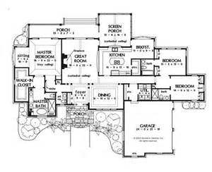house plans with large porches a one story house plan master bedroom with sitting and wic screened in porch with