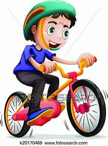 Clip Art of A young boy riding a bicycle k20170468 ...
