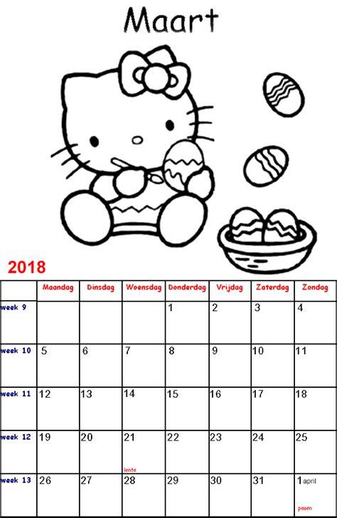 Kleurplaat Kalender Maart by Kleurplaten Voor Kinderen Hello Kalender 2018