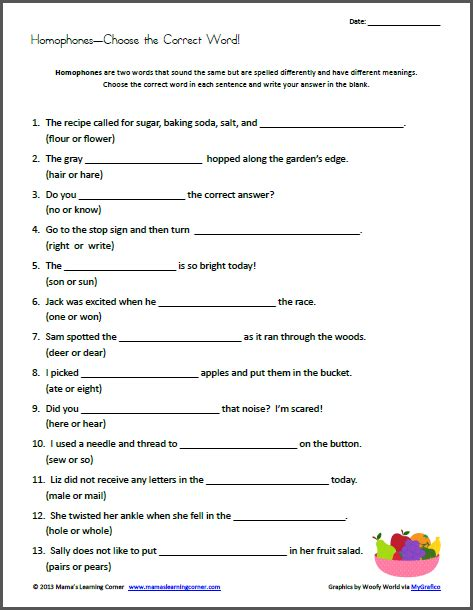 homophones choose the correct word worksheets