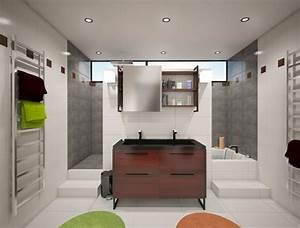 Baignoire et douche derriere meuble vasque deco salle for Salle de bain design avec vasque 40 x 40