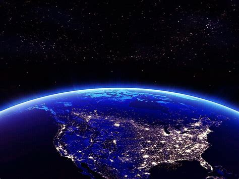 earth north america   night view  space