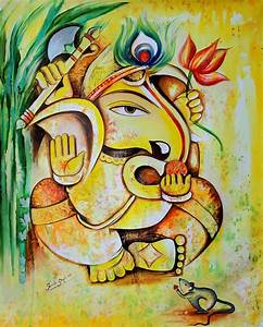 25 Beautiful Paintings Of Lord Ganesha | Oil paintings ...
