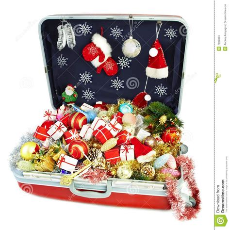 big suitcase with gifts for christmas stock images image