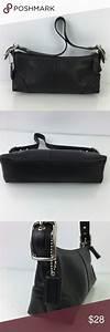 Coach 8a64 Black Leather Mini Hobo Shoulder Clutch