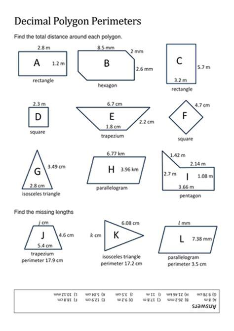 decimal polygon perimeters  pas teaching resources