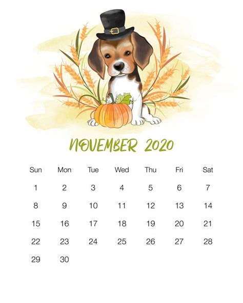 printable  cute dog calendar  cottage market