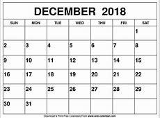 December 2018 calendar Template Printable Blank PDF With