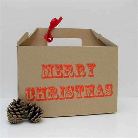 screen printed merry christmas gift box by rolfe wills