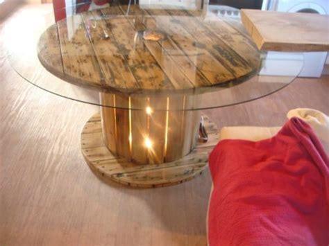unique cable reel table  large glass top  light box