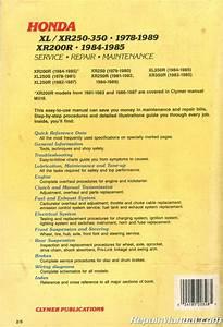 Used Clymer Honda Xl Xr250 Xl Xr350r Xr 200r Repair Manual