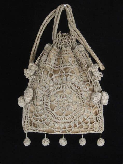 vintage crocheted purse reticule beautiful crocheted