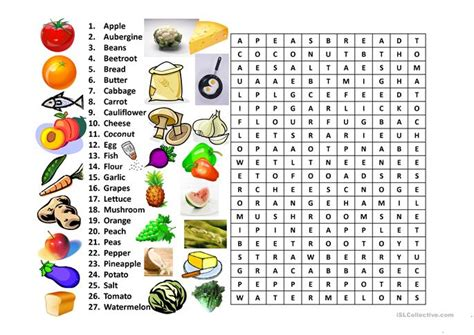 word for cuisine food word search worksheet free esl projectable