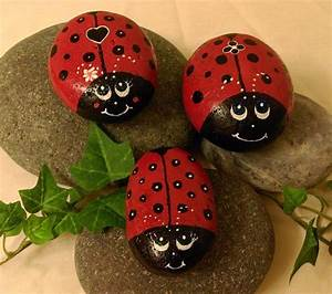 Rock, Art, Original, Hand, Painted, Ladybugs