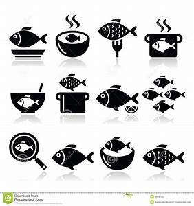 Fish Meals Icons - Soup, Chowder, Goulash, Fried Fish ...