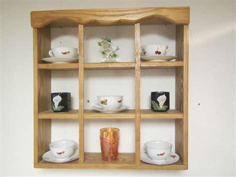 oak tea cup  saucer wall shelf  table top shelf rack wood shelf display curio shadow