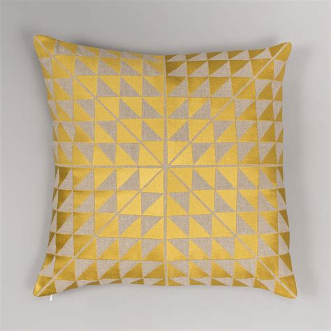 3 Cushion Cover by Geocentric Cushion Cover Gold And Linen Niki Jones