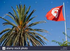 Tunisian flag Crescent moon and star on a red background