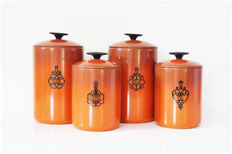 vintage glass canisters kitchen burnt orange bend kitchen canisters