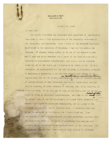 letter to the jews us president william taft historically anti semitic letter