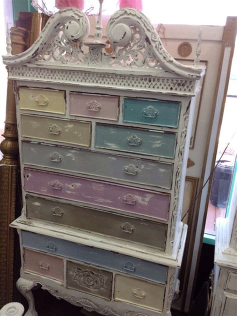 shabby chic furniture colors vintage inspired shabby chic multi colored queen anne cabinet