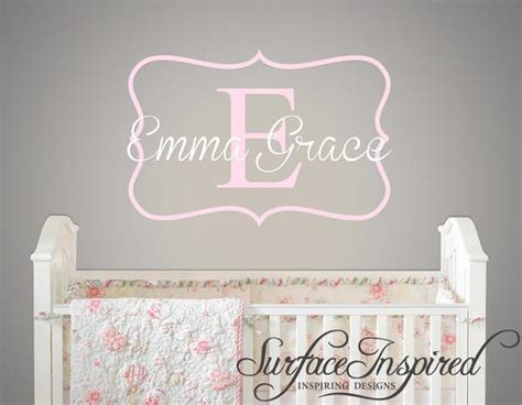 wall decal emma grace monogram wall decal  nursery surface inspired home decor wall