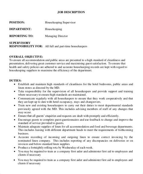 cleaning duties description sle supervisor description 8 exles in pdf
