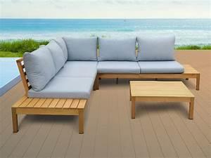Canape De Jardin En Bois : salon de jardin esteli bois eucalyptus canap angle table ~ Dallasstarsshop.com Idées de Décoration