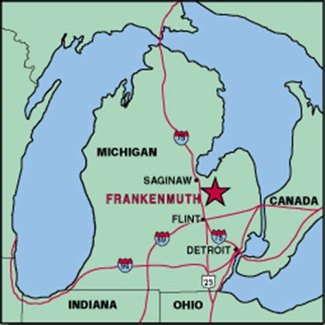 map of frankenmuth michigan michigan map