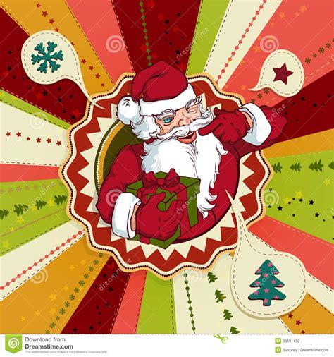 Santa Claus Card By Benchart Vectors Eps Vintage Vector Card With Santa Claus Stock