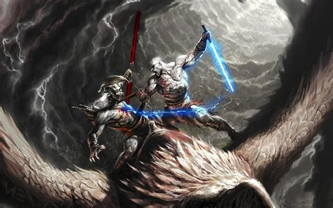 Darth Vader Background Hd God Of War 3 4k Dual Screen Wallpaper Hd Wallpapers