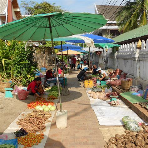 Morning Market in Luang Prabang, full of exotic products ...