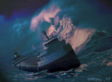when did the edmund fitzgerald ship sank edmund fitzgerald print by dureall on deviantart