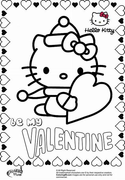 Coloring Kitty Valentine Hello Pages Valentines Sheets