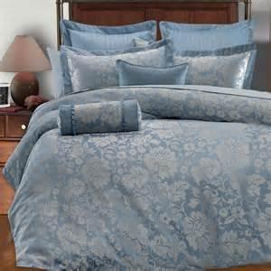 9pc light blue silver gray floral design comforter set full queen