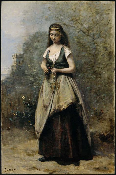 young woman weaving  wreath  flowers museum  fine